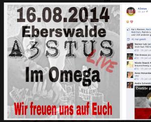 Auf Facebook wirbt A3STUS noch für das Konzert (Screenshot)