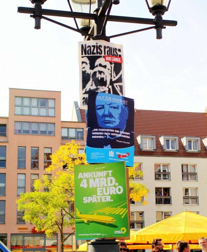 Mit falschem Chruchill-Zitat, versucht die Afd in Frankfurt (Oder) gegen Antifaschist*innen zu hetzen. Das spricht auch viele Neonazis an. Inzwischen befürworten einige die Wahl der rechtskonservativen Partei. (Foto: pressedienst ffo)