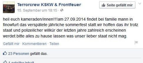 Kameradschaft Kommando Werwolf kündigt Nazievent auf Facebook an.