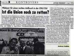 """Andreas Kalbitz (AfD) 1992 in der """"Jungen Freiheit"""" (Ausschnitt)"""