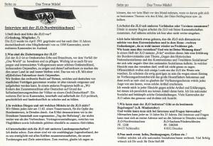 Interview mit JLO-Funktionär in Neonazizeitschrift von 2001 (Faksimile)