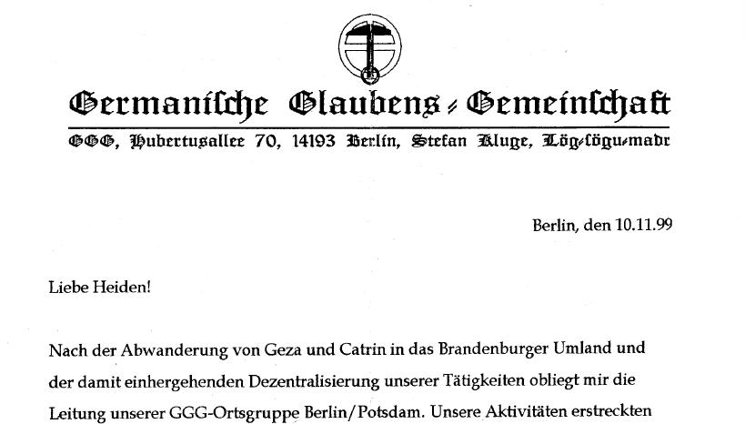 Germanische Glaubens-Gemeinschaft beklagt Wegzug von Nahodyl-Nemenyi und Lebensgefährtin Catrin.