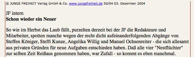 Ex-Junge Freiheit RedakteurInnen Willig und Ochsenreiter schreiben für extrem rechte Blätter.