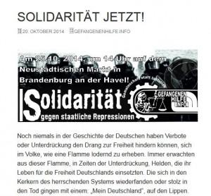 """Aufruf der """"Gefangenenhilfe"""" zur Neonazi-Demo am 25.10.2014 in Brandenburg/Havel (Screenshot)"""