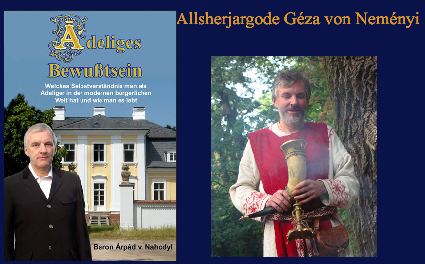 Nahodyl-Nemenyi als Baron (Buchcover, links) und als Germanenpriester (Screenshot von seiner Internetseite, rechts).