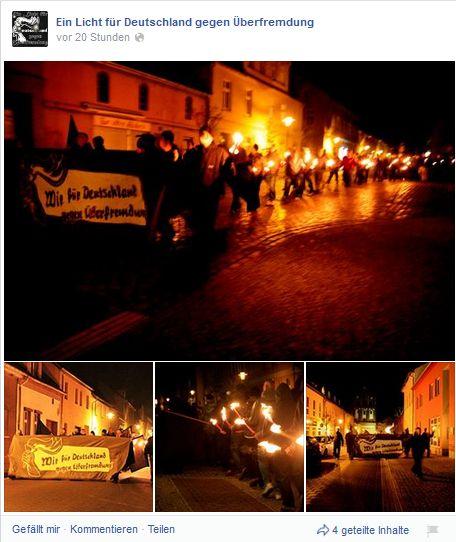 """Screenshots der Fotos der Demonstration in Gransee auf der Facebook-Seite """"Unser Licht gegen Überfremdung"""""""