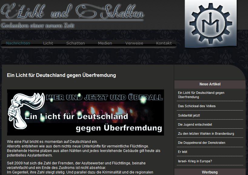 """Bericht zur Demonstration in Gransee auf der """"Licht und Schatten"""" Webseite"""