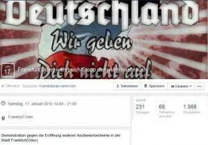 Facebook-Aufruf zur rassistischen Demonstration am 17. Januar in Frankfurt/Oder