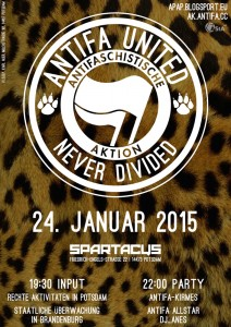 Poster für die Antifa United-Party am 24. Januar 2015 in Potsdam