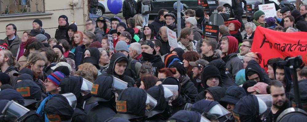 Frankfurt/Oder am 17.1.2015: Blockadeaktionen