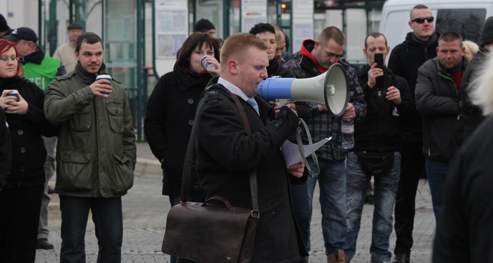 Frankfurt/Oder am 17.1.2015: Redner Björn Brusak