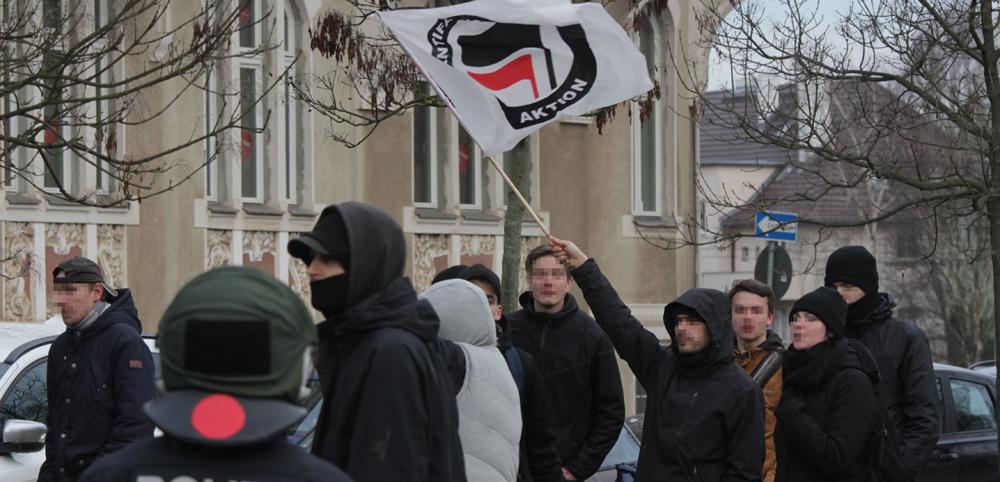 Frankfurt/Oder am 17.1.2015: Protest am Rande