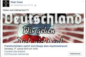 Großmachtfantasien: Peer Koss wollte anfangs mit einem großdeutschen Reich gegen Asylmissbrauch demonstrieren. (Foto: screenshot facebook)