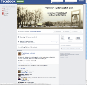"""Facebook-Aufruf zur Kundgebung am 14. Februar von """"Frankfurt/Oder wehrt sich"""" (Foto: Screenshot facebook)"""