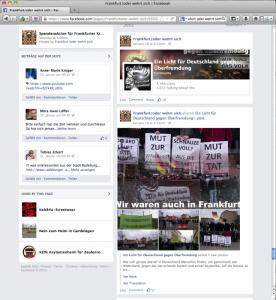 """Ihre Teilnahme am Frankfurter Neonaziaufmarsch teilt die Gruppe """"Ein Licht für Deutschland gegen Überfremdung"""" um Maik Eminger auf facebook mit. (Foto: screenshot facebook)"""