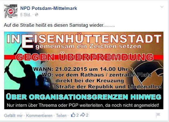 Screenshot der NPD Potsdam-Mittelmark Facebook Seite