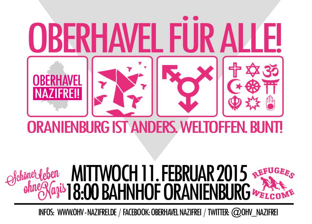 Oberhavel für Alle! Aufruf zur gemeinsamen Demonstration für ein weltoffenes und buntes Oranienburg und gegen den Abendspaziergang der Nazis und Rassist_innen!
