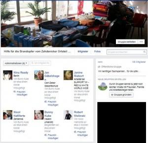 """Screenshot der Facebookgruppe """"Hilfe für die Brandopfer vom Zehdenicker Ortsteil Osterne"""""""