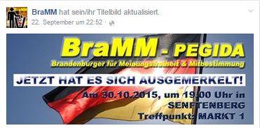 Ankündigung zum BraMM-Aufmarsch am 30.10. in Senftenberg. Quelle: Facebook