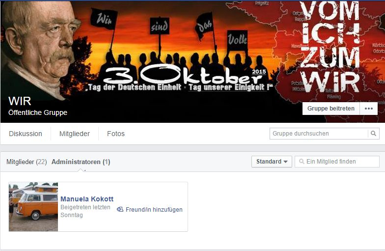 Screenshot der Facebook-Gruppe
