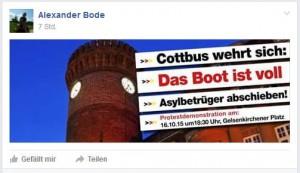 Aufruf für rassistischen Aufmarsch in Cottbus
