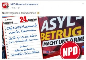 Ankündigung zur Kundgebung am 24.10. in Bernau. Quelle: Facebook