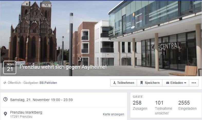 Facebook-Veranstaltung zum 21.11. in Prenzlau
