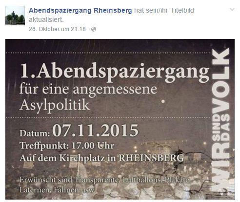 Ankündigung für die Demonstration in Rheinsberg. Quelle: Facebook.