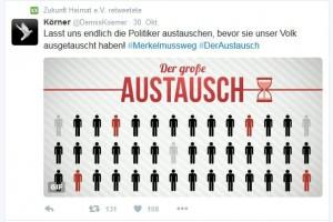 """Propagandist """"DennisKoerner"""" wirbt, """"Zukunft Heimat"""" teilt"""