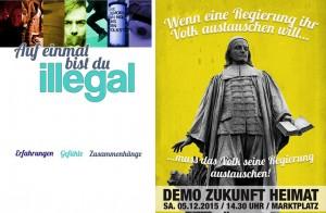 """Ähnliche Schriftart: links """"Spreelichter""""-Propaganda, rechts """"Zukunft Heimat""""-Grafik"""