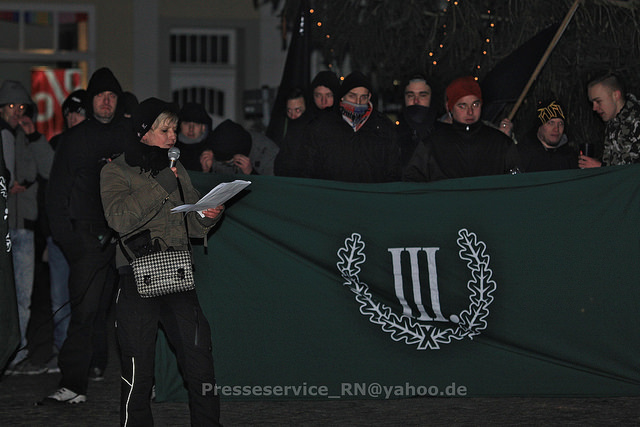 Manuela Kokott auf der späteren Kundgebung auf den Marktplatz. Bild: Presseservice Rathenow
