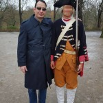 "Der Neonazi Christian Müller am 24. Januar 2016 auf einer Aufführung der ""Langen Kerls"" am Schloss Sanssouci"