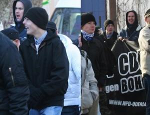 Seit fast 10 Jahren aktiv in der Neonazi-Szene: Andy Köbke (mit Brille) am 27. Januar 2007 auf einer NPD-Demonstration in Frankfurt (Oder).