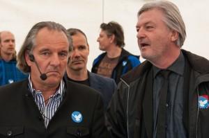 Jürgen Elsässer (rechts im Bild) 2014 bei einer Demonstration in Berlin
