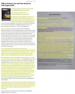 Seite 1 des Nauener Terroraufrufs und Textvorlage aus dem Compact-Magazin