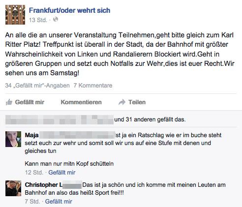 """""""Sport Frei"""" gegen Nazigegner_innen: Posting von Christopher L. (Screenshot Facebook)"""