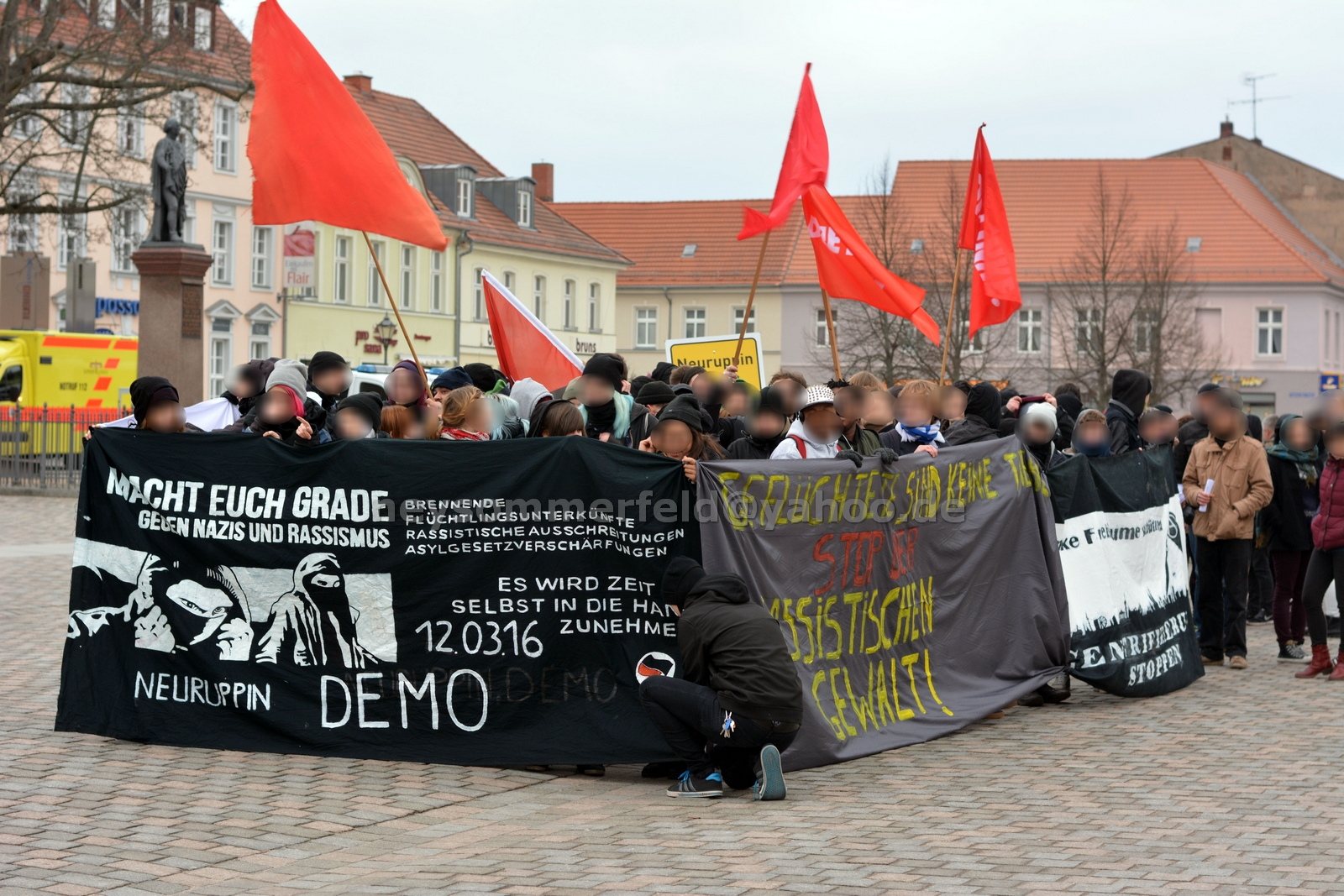 Antifaschistische Demonstration in Neuruppin. Bild: Ney Sommerfeld.