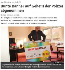 So berichtet der Nordkurier über das Handeln der Polizei in der Uckermark (Screenshot)