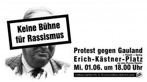 Keine Bühne für Rassismus - Aktion am 1. Juni 2016 in Cottbus gegen die AfD