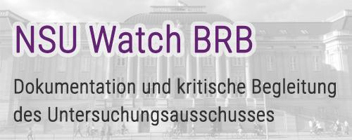 Logo NSU Watch Brandenburg. Dokumentation und kritische Begleitung des Untersuchungsausschusses