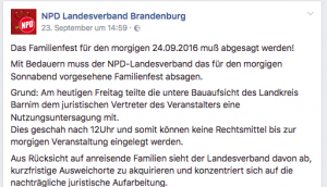 Abgesagt: NPD jammert auf Facebook (Screenshot: inforiot)