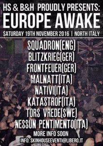 Flyer für das Rechtsrock-Fest Europe Awake