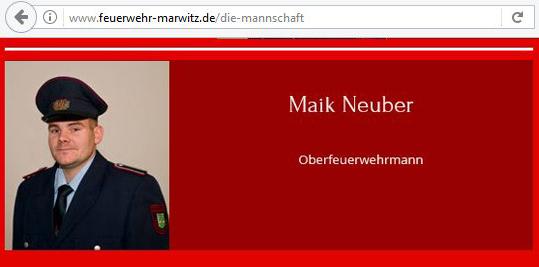 Screenshot: Maik Neuber auf der Seite der Freiwilligen Feuerwehr Marwitz.