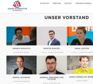 Landesvorstand der Jungen Alternative Brandenburg. Links unten: Daniel Schwarz.
