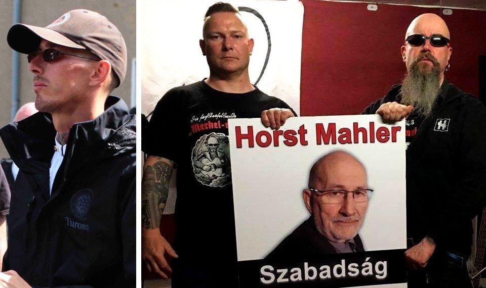 """Links Steffen Richter aus Saalfeld bei einem Rudolf-Heß-Marsch (Foto flickr). Rechts: Nils Larisch und Michael Regener fordern """"Freiheit"""" für den Holocaust-Leugner Horst Mahler."""