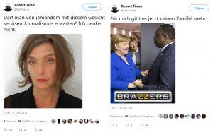 """Kontinuität des Sexismus in aktuellen Twitter-Nachrichten von Robert Timm: """"Kritik"""" über Äußeres und Porno-Anspielungen"""