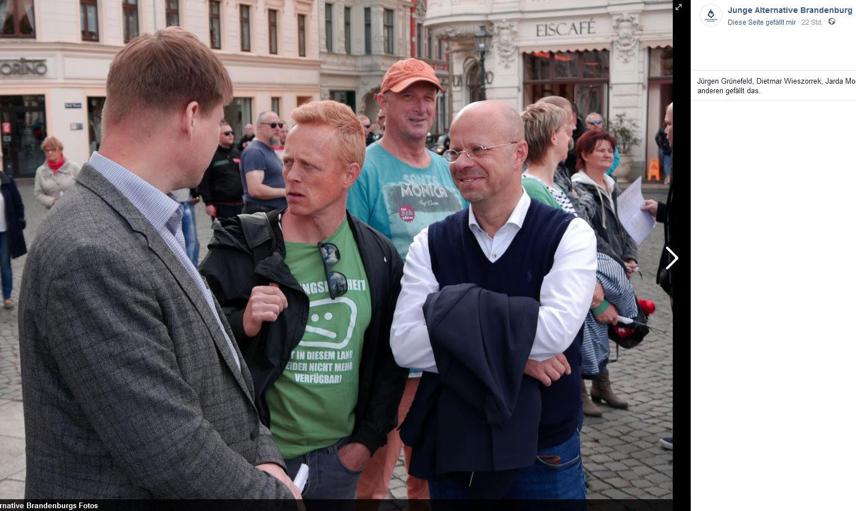 Steffen Kotré, Lars Schieske und Andreas Kalbitz im Gespräch